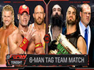WWE六神君引发八天王大战!约翰塞纳&莱贝克&道夫齐格勒(卢克哈珀)vs凯恩